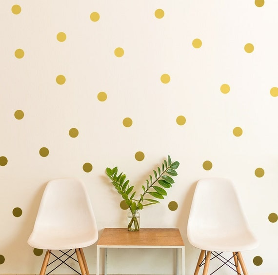 Polka Dot Wall Decals For Kids Rooms : Polka Dot Wall Decal / gift / Gold Polka Dot by OhongsDesignStudio