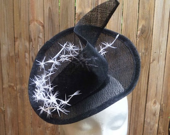 Black sinamay fascinator with White feathers