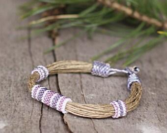 Linen bracelet - organic jewelry - sports jewelry for her - nature bracelet - natural material - bracelet ecofriend - 2015 trend