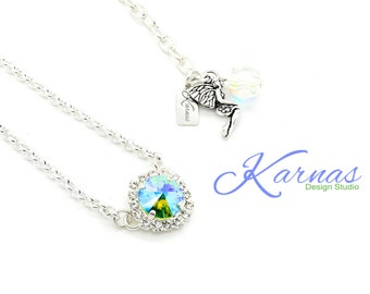 PERIDOT GLACIER & CRYSTAL 12mm Rivoli Halo Necklace Made With Swarovski Elements *Pick Your Finish *Karnas Design Studio *Free Shipping*