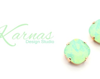 CHRYSOLITE OPAL 12mm Crystal Cushion Cut Stud Earrings Made With Swarovski Elements *Pick Your Finish *Karnas Design Studio *Free Shipping*