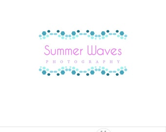 Blue logo design, waves mosaic, photography logo watermark, business branding