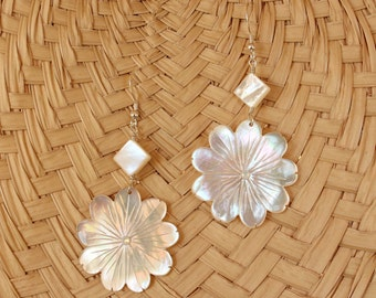 Carved Mother of Pearl Tropical Flower Earrings with Diamond Shaped Mother of Pearl Bead