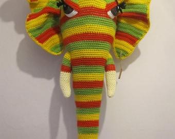 "Crochet Amigurumi Trophy Head  Faux Taxidermy Wall Hanging Home Decor Elephant ""RHUBARB"" HUGE Rainbow Nursery Soft Sculpture Fiber Art OOAK"