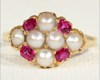 Mid-Victorian Pearl and Ruby Cluster Ring in 18k Gold, c. 1870