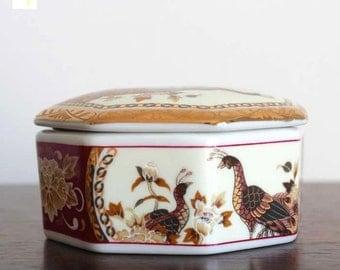 Vintage Porcelain Box, Japanese box, Jewelry box, Geometric Box, Trinket