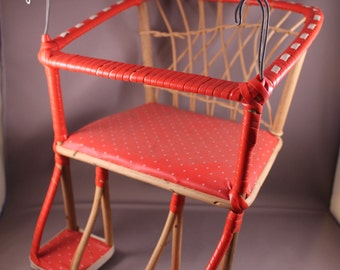 Lovely 60s Vintage Bicycle Seat Chair for Doll red with white dots upholstery wicker basket weave 70s Romantic Look
