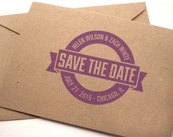 Save the Date Stamp • Personalized Wedding Stamp • Custom Rubber Stamp • DIY Wedding • Wedding Invitation • Circle Banner • Made to Order