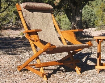 "Alder Wood Sling Chair with Arm Rests, Headrest and Handle in Boysenberry Outdoor Fabric ""Eastwood Prospector"" Folding Deck Chair"