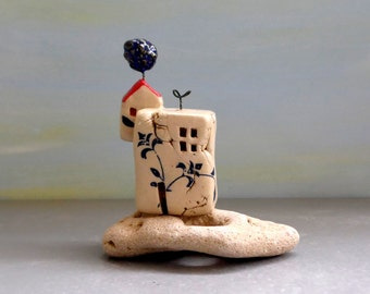 Little house , ceramic house , miniature house , white little house , rustic house , clay house on a natural stone