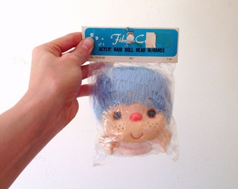 Vintage Blue Haired Doll Head With Hands/Never Opened