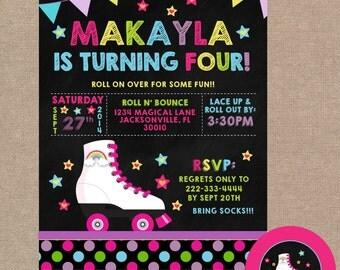 Roller Staking Birthday Invitation, Rollerskating Birthday Party, Chalkboard, Rollerskating Invite, Roller Skating Invite (#347)