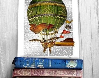 Vintage Green Hot Air Balloon Print - Hot air balloon decor Balloon Illustration wall art wall decor wall hanging dictionary art print book