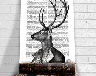 Deer Portrait 2 - deer antler deer print deer poster deer illustration deer decor woodland decor woodland print woodland art deer head