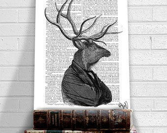 Deer Portrait 1 - deer print deer decor stag print stag head stag decor deer antlers wall art wall decor wall hanging anthropomorphic art