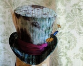 Mad Hatter Top Hat,Steampunk Halloween Costume Alice in Wonderland Top Hat,WOMEN's Tea Party Hat-Custom-Made to Order
