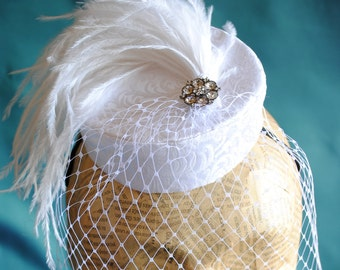 Bridal Pillbox Mini Hat with White Feathers and Veil - Bridesmaid Mini Hat - Tea Party Pillbox  Hat - Ready to Ship