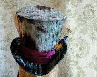 Mad Hatter Top Hat,Steampunk Halloween Costume Alice in Wonderland Top Hat,WOMEN's Tea Party Hat-Custom-Made to Order