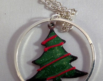 Torch Fired Enamel Christmas Tree with Silver Ring Necklace  017