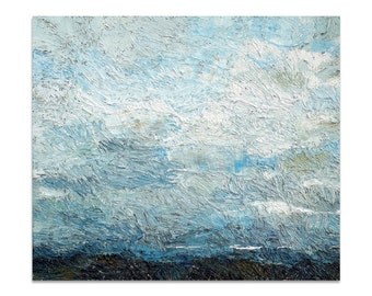 Clouds - original oil painting, textured landscape painting on stretched canvas by Lia Aminov