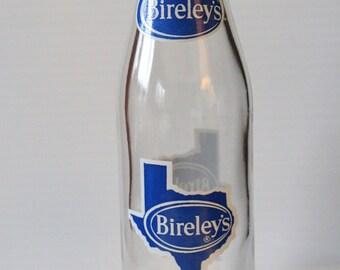 BIRELEY'S TEXAS Glass Soda Bottle, Vintage Collectible Soda Bottle, Bottle with Blue and White Texas Logo, vintage 10 oz. soda bottle