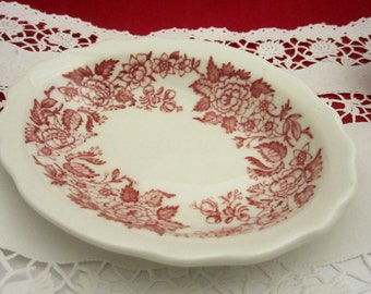 Restaurant or Hotel Ware Red Floral Soap Dish or Individual Serving Dish Made by Jackson China