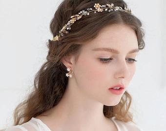 vigne ruban fleur or clinquant gems crystal nuptiale accessoires cheveux pour mariage mari e. Black Bedroom Furniture Sets. Home Design Ideas