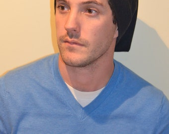 Men and Women's Black Slouch Beanie Hat