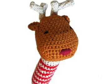 Little reindeer crocheted rattle