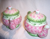 Two Decorative Vintage Style Tea Pots with Floral Pattern