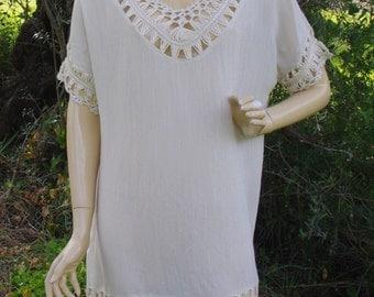 Beige Tunic Cotton Tunic Womens Tunic Tunic Dress Tunic Tops Ethnic Tunic Maternity Hippie Tunic Boho Tunic Party Dress Summer Dress