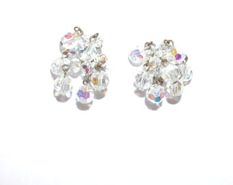 Vintage Ab Earrings Crystal Waterfall Cascading Clip on Earrings
