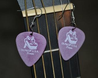 Dunlop Guitar Pick Earrings, Light Lavender