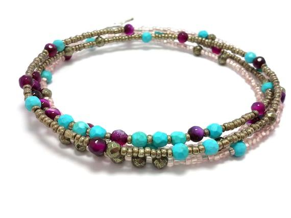multi strand seed bead bracelet wrap beaded bracelet by
