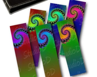 Printable Bookmarks, Back to school, Rainbow colors, DIY craft projects, Fractal art for instant download, Book lovers gift