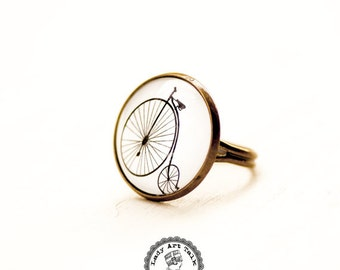 Old Bicycle Penny Farthing Bike Ring Jewelry, High Wheel Bike Image Photo Glass Adjustable Ring, Gift for Bike Lover Women Sister Her Teen