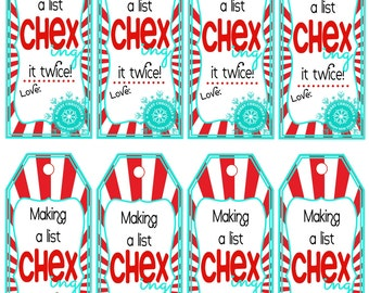 Printable Chex Mix Gift Tags - Neighbor or Friend Christmas Gift - Red and Turquoise - Instant Download