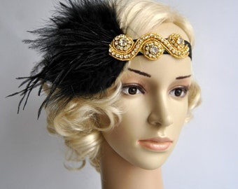 Gold Great Gatsby 20's flapper Headpiece,Vintage Inspired, Bridal 1920s Headpiece ,1930's, Rhinestone headband, Rhinestone flapper headpiece