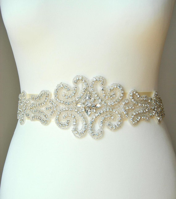 Wedding dress sash belt luxury crystal bridal sash for Wedding dress sashes with crystals