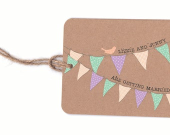SAMPLE of Tea party bunting wedding invitation