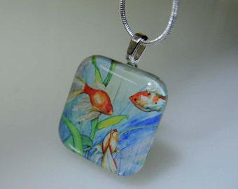 Fish jewelry Glass Tile Pendant Necklace Fantail Goldfish art print wearable art affordable jewelry fish painting Christmas gift for girls