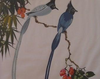 Bird Japanese art Silk painting Asian art