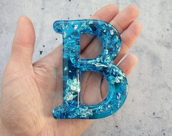 Alphabet Letter B, Wall Letter B, Blue Resin Silver Leaf, Decorative Letter, Blue Letter, Letter Wall Art, Wall Letter, Hanging Letter