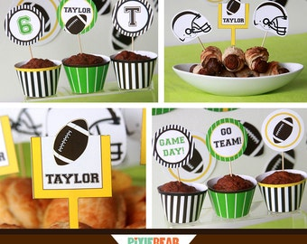 Football Party - Football Birthday - Football Cupcake Topper - Tailgate Party - Super Bowl Party - Football Decorations (Instant Download)