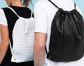 Black Quilted puffy bag cinch sack drawstrings backpack bag