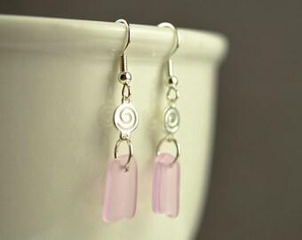 Pink sea glass earrings danlge earrings seaglass jewelry sea glass jewelry handmade jewelry pink earrings gift for friend sister mom wife