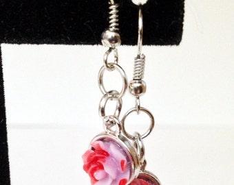 Bloody Flower Earrings, Lavender Color, Zombie Jewlery, Horror Accessory, Undead Earrings, Creepy Things, Spring Pastels