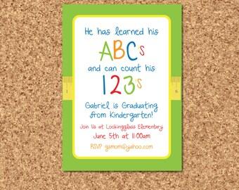 Preschool Graduation Invitation- Kindergarten Graduation Invitation- ABC's Invitation- Prek Graduation Invitation