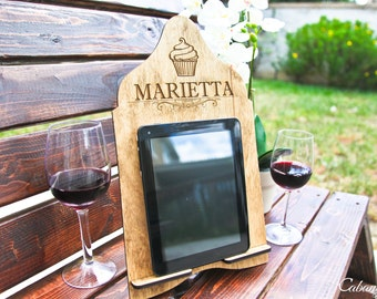 Personalized Wood Engraved Cook Book Stand Recipe Stand Family Tablet Stand Docking Station Kindle Nook Stand & iPad Stand