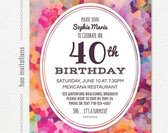 40th birthday party invitation, geometric watercolor purple modern birthday invitation, watercolor violet magenta pink, 5x7 jpg pdf 739